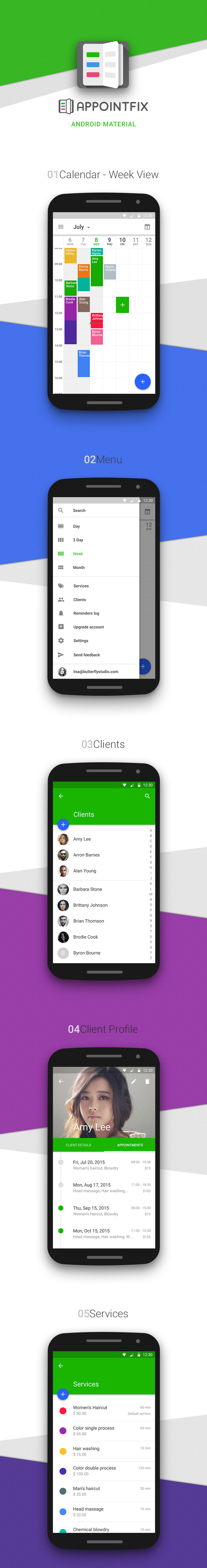 Appointfix Android Material Design Example