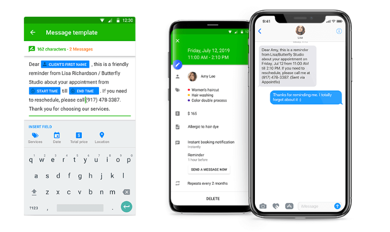 Screenshots of Appointfix automated messages option