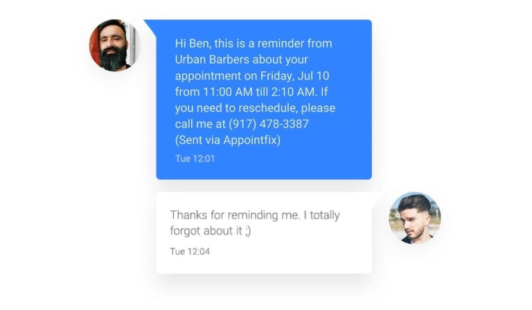 Appointfix Reminder Messages for Barbers