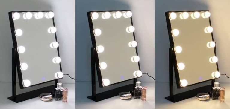 Mirror with LEDs for barbers