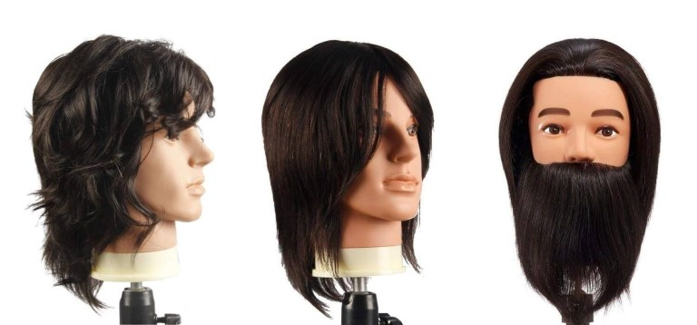 Male mannequin heads for barbers