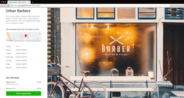 Barbershop Online Booking page in Appointfix