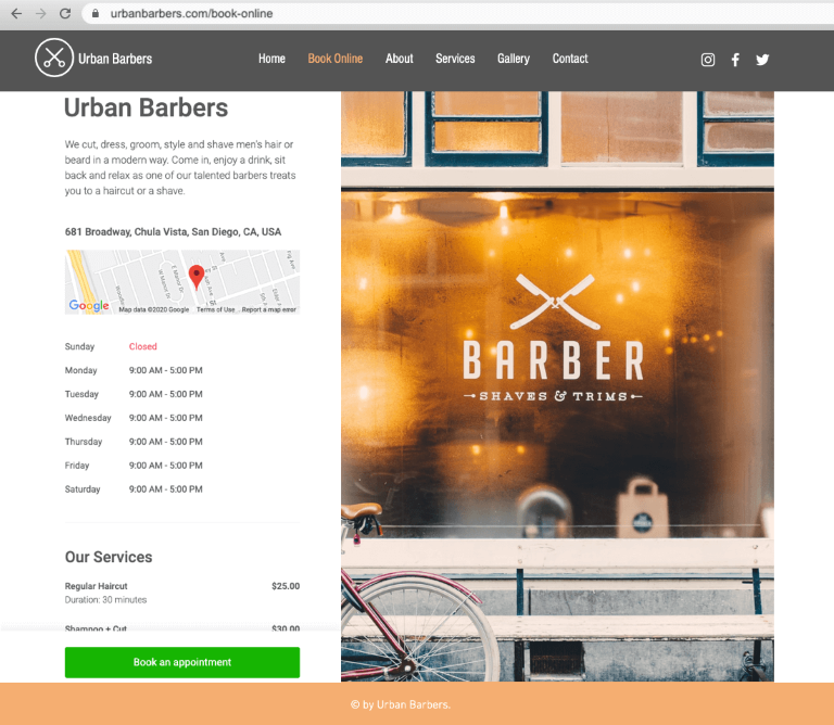 Wix Appointfix Online Booking page for barbers
