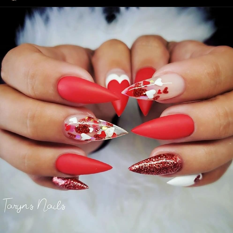 glam red nails with glitter