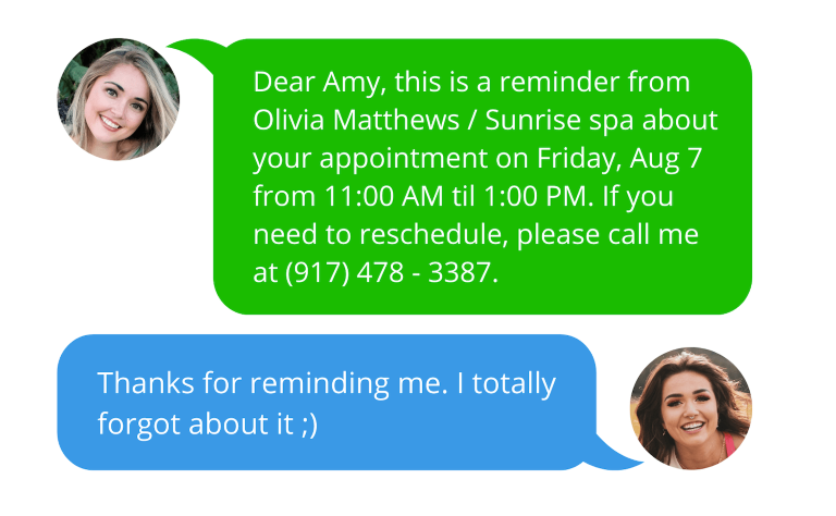 Automated text messages for spa