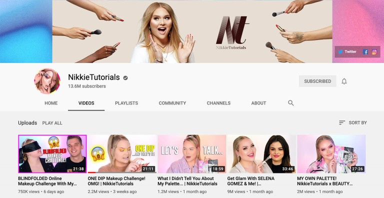 Nikkie Tutorials Youtube channel