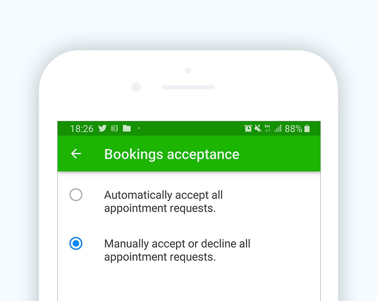 Manual / Automatic appointment acceptance confirmation
