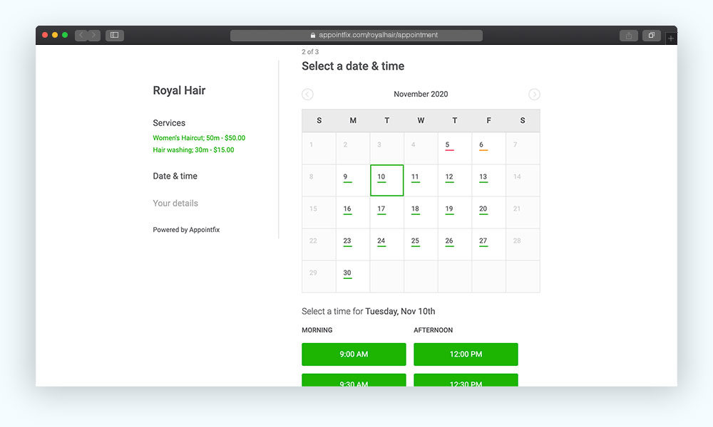 Online booking time and date