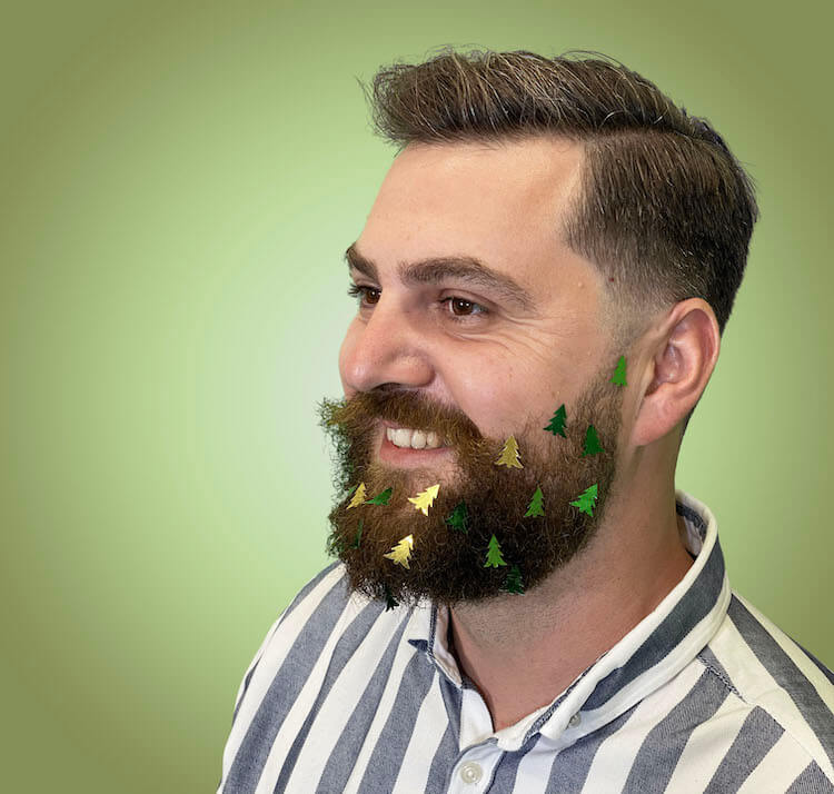 christmas beard decorated with christmas trees ornaments