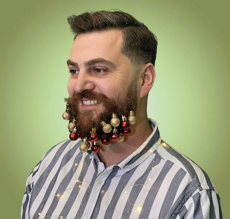 christmas beard decorated with red and gold christmas globes