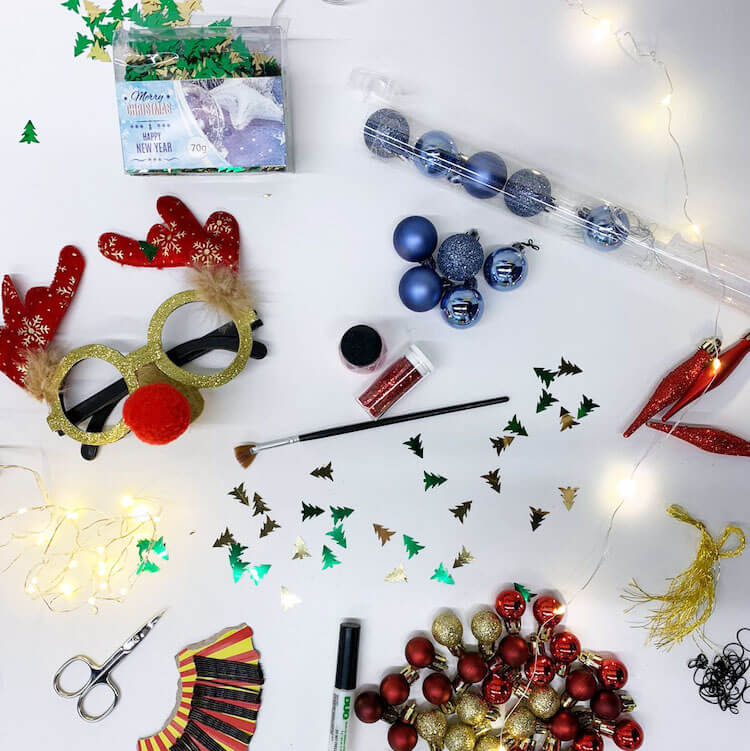 christmas beard accesories and decorations