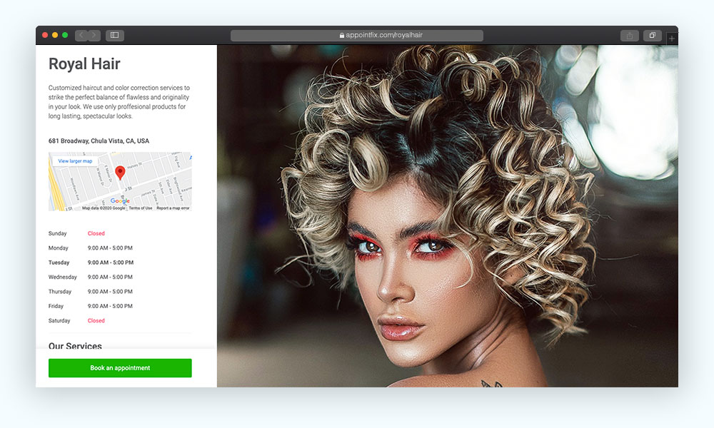 Online booking system for hair salon