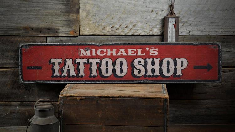 personalized shop tattoo wood sign gift idea