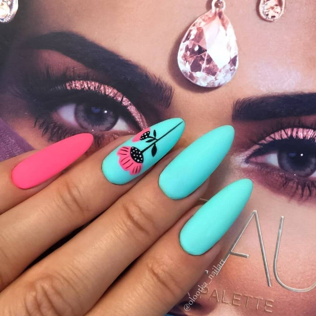 pink and turqoise matte nails
