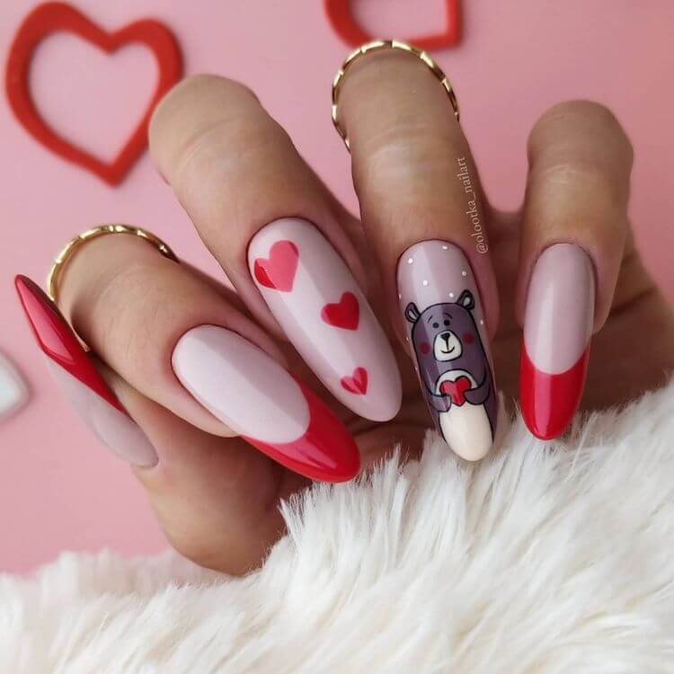 red hearts and teddy nail design