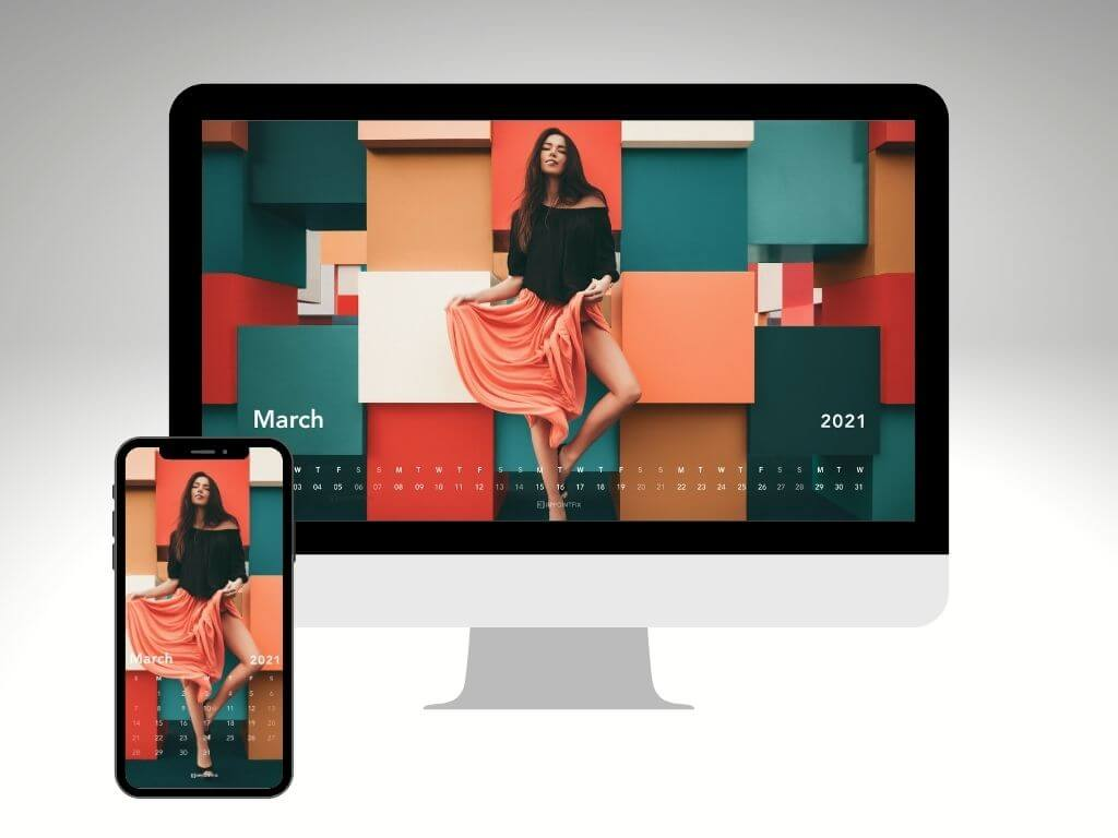 Colorful woman fashionista March 2021 wallpaper calendar for desktop and mobile