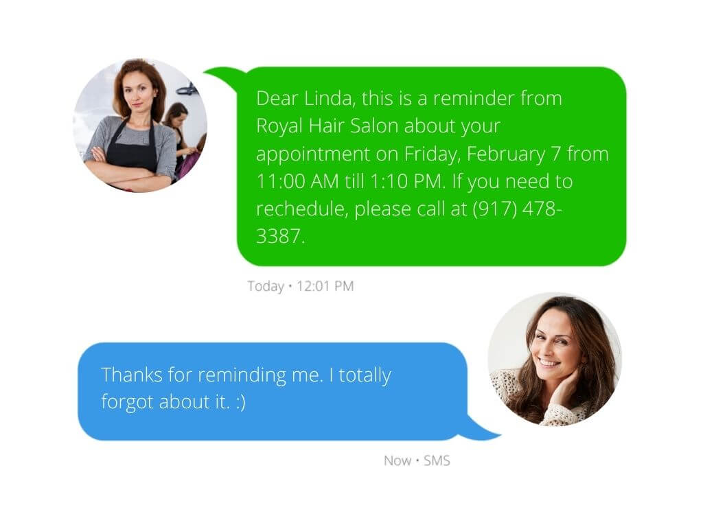 appointment reminder message