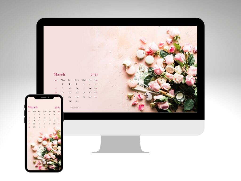Pink roses and macarons March 2021 wallpaper calendar for desktop and mobile