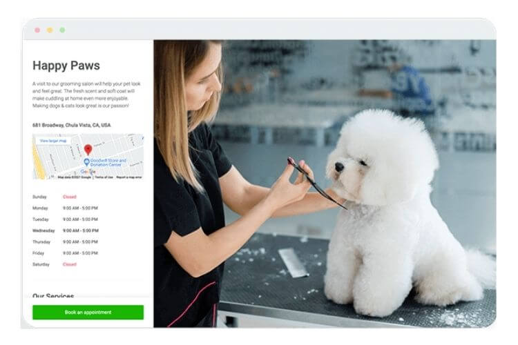 dog-groomer-online-booking-page